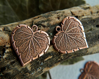 Brass Heart Leaf Charms  Antique Copper Plated Brass USA Made 16x17mm (8pcs) NEW