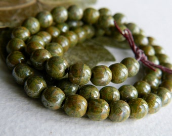 Czech Glass Druk Beads 6mm  Olive & Brown Speckled Picasso and Luster (40pcs) NEW