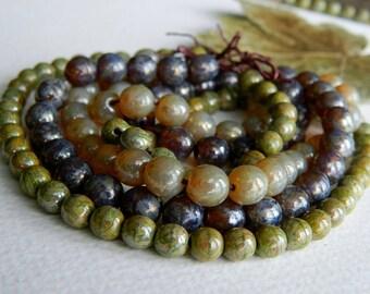 Druk Bead Mix, Czech Picasso Druk Beads, Czech Glass Beads, Organic Picasso Mix 8mm & 6mm (60pcs) NEW
