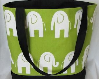 SALE ** Elephant canvas tote, personalized diaper bag, large weekender, beach bag, shoulder bag, zip top, nappy bag
