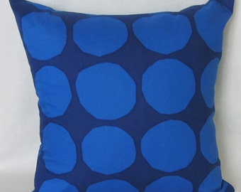 Blue Marimekko pillow cover in Pienet Kivet fabric from Finland, buy one, get 30% off the second one,  FREE SHIPPING Canada and US