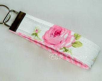 Pink Japanese Roses & Gingham Key Fob Wristlet