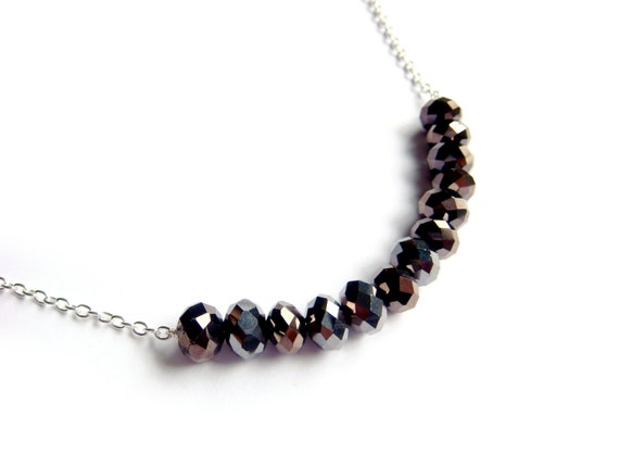 Simple Black Beads Necklace - Jet Black Beads On A Silver Chain - Coal