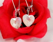 White Heart Dangles, Heart Drop Earrings, Sweethearts Day Beaded Earrings - ChristalDreamz