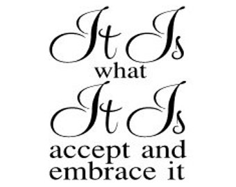 """It is what it is accept and embrace it  vinyl wall decal 12 x 15"""""""