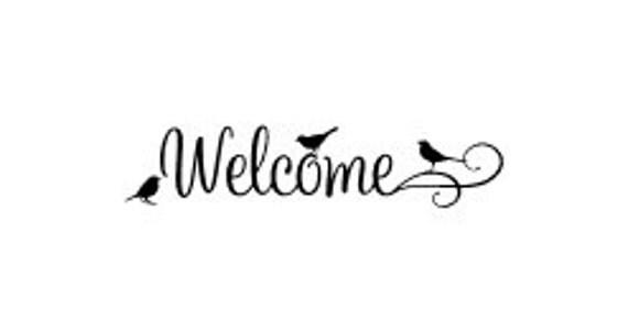Welcome door vinyl decal Welcome Sign vinyl decal Birds Welcome Vinyl Decal