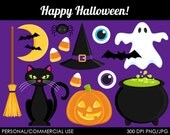 Happy Halloween Clipart - Digital Clip Art Graphics for Personal or Commercial Use