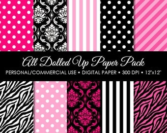 All Dolled Up Digital Printable Paper Pack - For Commercial or Personal Use