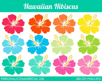 Hawaiian Hibiscus Clipart - Digital Clip Art Graphics for Personal or Commercial Use