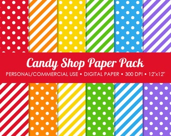 Candy Shop Digital Printable Paper Pack - For Commercial or Personal Use