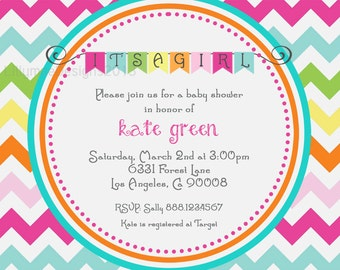 Colorful Chevron Baby Girl Shower Invitation - Digital File