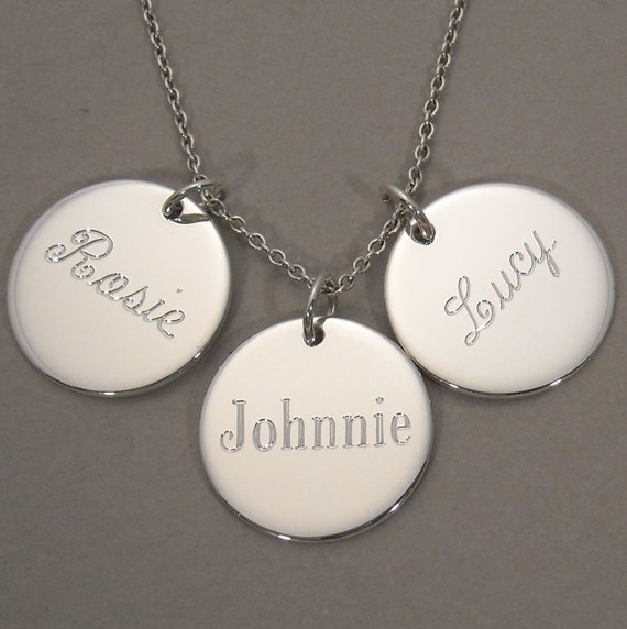 Engraved personalized name or word pendant necklace with three (3) sterling silver 5/8 inch round circle disc charms- MIX 3 SSLCS/ UDLCEN