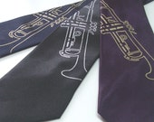 Screen Printed Music Tie - Trumpet Neck Tie - Gift Wrapped - Choose color and quantity