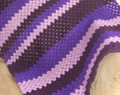 Granny Square Purple Crochet Afghan, Baby Afghan Blanket, Lap Blanket, Baby Shower - Just4UWearables