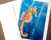 """SET OF 5 Sea Horse Art Note Card """"Sea Freckles""""  Tropical Fish, Embossed Art Print Greeting Card with Envelope Artist Christie Marie"""