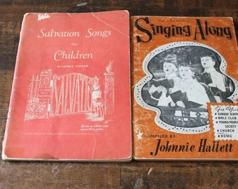 Vintage Sheet Music Children's Hymnals religious music Books 1947 Paper Ephemera for scrapbooking collage altered art Supplies 2 booklets
