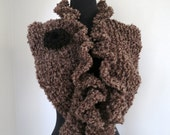Light Brown Color Ruffled Knitted Collar Scarf Capelet Turtleneck Necklet Dickey with Two Knitted Brooches