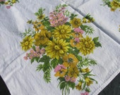 Vintage  Tablecloth  - Gold Pink Yellow Floral Bouquets - Great Condition - Cotton - Mid Century -