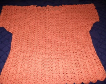 Crocheted Peach Sweater