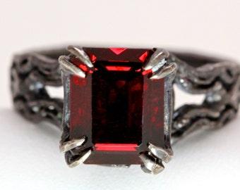 Kathula Emerald Cut Red Garnet  ring
