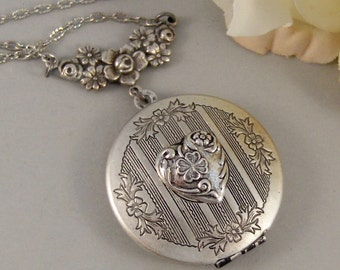 Shamrock Heart,Locket,Silver Locket,Shamrock,Heart,Irish,Antique Locket,Celtic,Jewelry. Handmade jewelry by valleygirldesigns.