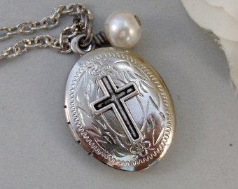 Petite Cross,Locket,Silver Locket,Antique Locket,Girl,Child,Baby,Girl Locket,Cross,Baptisim. Handmade jewelry by valleygirldesigns.