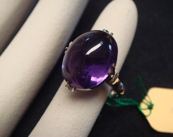Vintage 1950 TO 1960 fine jewelry in solid 14K white gold oval shape amethyst ring