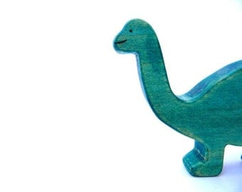 wooden brontosaurus toy, dinosaur wood toy, waldorf dinosaur, brontosaurus