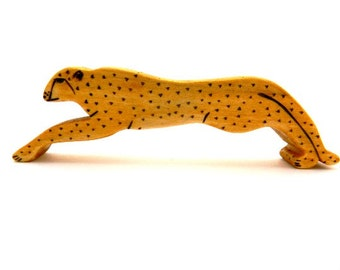 cheetah wooden toy, wood toys, wooden waldorf toys, waldorf cheetah, toddler toys, cheetah figurine