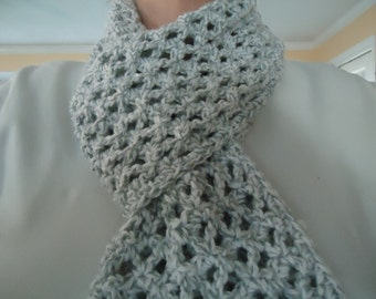Woman's Crocheted Lacy Scarf for All Seasons in Grey and White