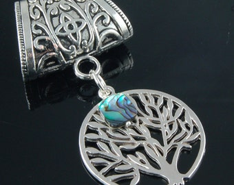 Scarf Pendant - Silver Tree of Life with Paua Shell Scarf Jewelry