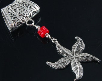 Scarf Pendant - Silver Starfish with Red Coral Scarf Jewelry