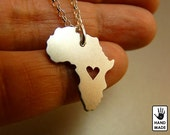 AFRICA Map Handmade Personalized Sterling Silver .925 Necklace in a gift box