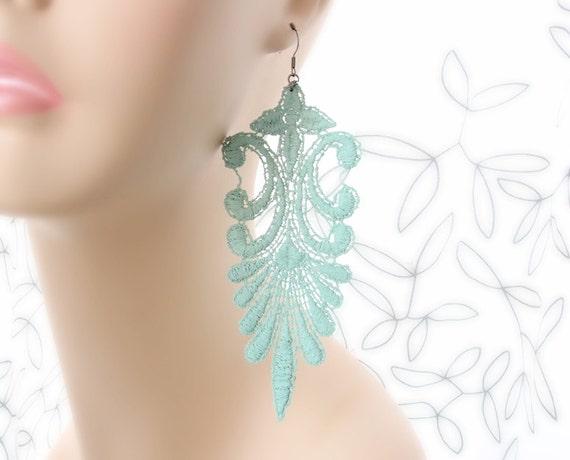 Mint Lace Earrings - Sloane in Soft Mint - Pastel Seafoam Lace Statement Jewelry
