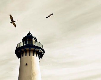 Lighthouse Photo, White, Gray, Beige, White Shabby Chic Beach House Decor, White Lighthouse Print, White Nautical, White Beach