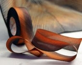 "Hand Dyed Silk Ribbon 1"" orange brown rustic fall autumn 3 yard Bias Cut Length - flowerseedpaper"