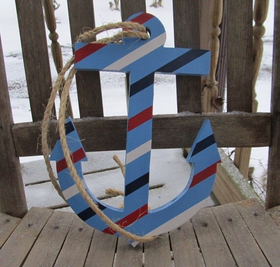 Ooak reclaimed wooden anchor wood anchor nautical decor for Anchor decoration runescape
