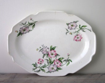 Vintage Shabby Chic Floral China Platter