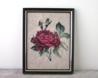 Vintage Needlepoint Rose Picture