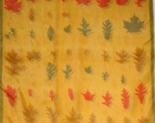 Stunning early Vera scarf with herbarium of leaves. Pre trademark, fall, yellow, ochre, orange, olive, autumn.