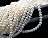 White Potato Button Pearl, Natural Freshwater Pearl 5mm -(PL05-2)/ full strand