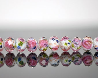 Lampwork Flower Glass Beads Faceted Rondelle 6x8mm White -(LL01-5) / 58Pcs