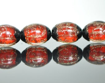 Lampwork Oval Chunky beads Gold Red 17mm -(LL29-7)
