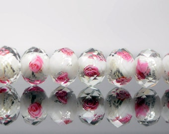 43pcs Lampwork Flower Glass Beads Faceted Rondelle White Silver 9x12mm  -(LL03-8)