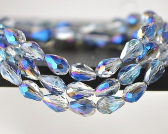 58pcs Faceted Teardrop Crystal Glass Beads 8x11mm Sparkly Blue -(#SS08-06)