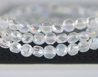 Rondelle Crystal Glass Faceted beads Matte 4mm Transparent AB -(MB04-8)/ 95pcs