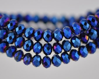 Crystal Rondelle Faceted Glass Beads 4x6mm Metallic Blue- BZ0689/ 95pcs