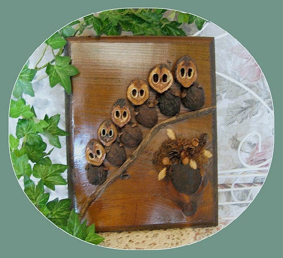Retro Hoot Owl Family Tree Wall Hanging Handmade Vintage Kitsch Decoration Rustic Décor Solid Wood Plaque