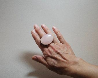 Pink Quartz  Gemstone Sterling Silver Ring Handmade  Large