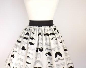 Black & White Mustache Pleated Full Skirt / Moustache Skirt
